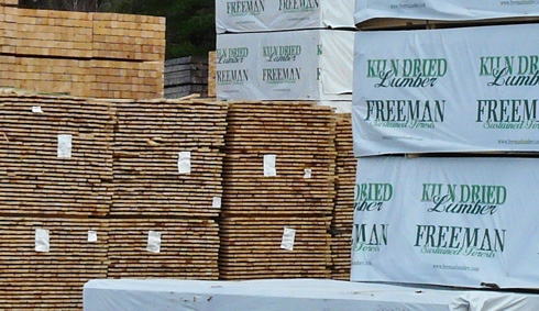 Stacked softwood lumber